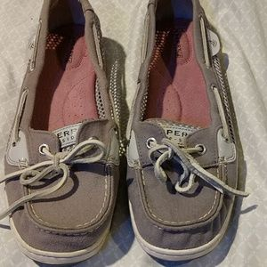 Sperry grey angelfish metallic leather and mesh